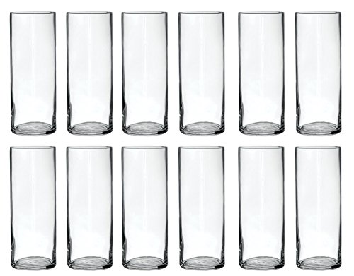 Treasures Untold Glass Cylinder Vases Bulk Set of 12 for Wedding Reception Centerpiece Sets and Formal Dinners (9 Inch) (Vases Centerpieces For Round)