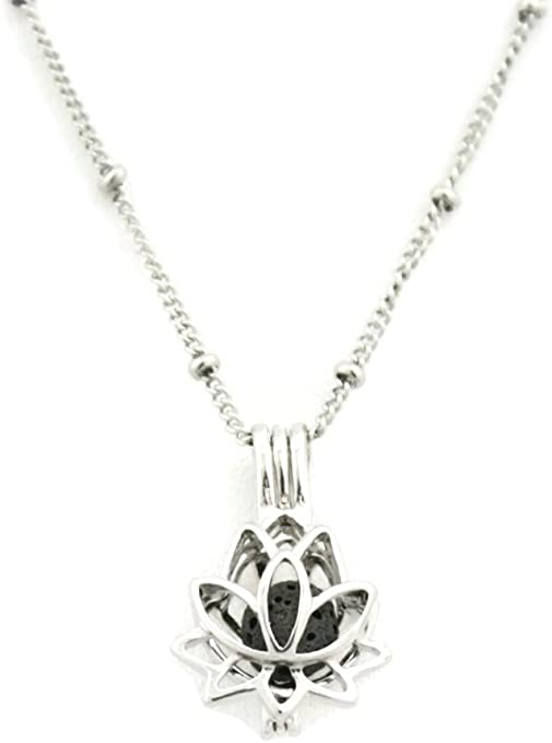 Lotus Flower Essential Oil Diffuser Pendant Necklace 316L Stainless Steel Silver