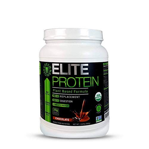 Elite Protein - Organic Plant Based Protein Powder, Chocolate, Pea and Hemp Protein, Muscle Recovery and Meal Replacement Protein Shake, USDA Organic, Non-GMO, Dairy-Free - Vegan - 14 - Elite Protein Powder