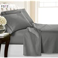 Flat Queen Fitted Bed Sheet Set, 4 Piece 1800 Series...
