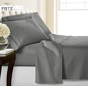 Amazon Com Gray Fitted Sheets Set 4 Piece Queen 12