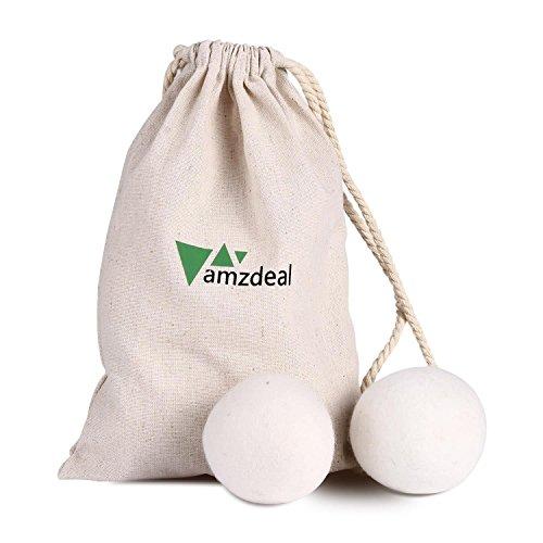 Amzdeal - Juego de bolas se secado para secadora, de lana, ideal como alternativa natural al suavizante, 6 unidades, color blanco: Amazon.es: Hogar