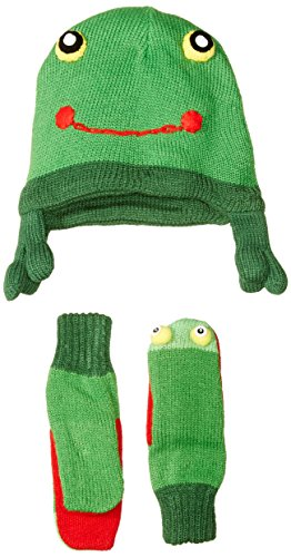 Kidorable Green Frog Soft Knit Hat/Scarf/Mitten Set With Fun Frog Puppet Mouth and Eyes Ages 6-8