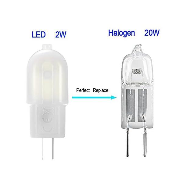 Gvoree, lampadine a LED G4, 2W, sostituisce lampadina alogena da 20W, AC/DC 12V, angolo di diffusione: 360°, bianco freddo 6000K, non dimmerabile, confezione da 10 3 spesavip