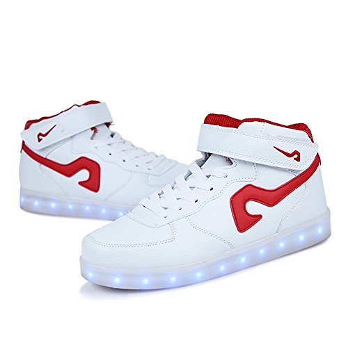 up Shoes and Light Men LED Sneakers Women's Flashing White01 wZqxSYq