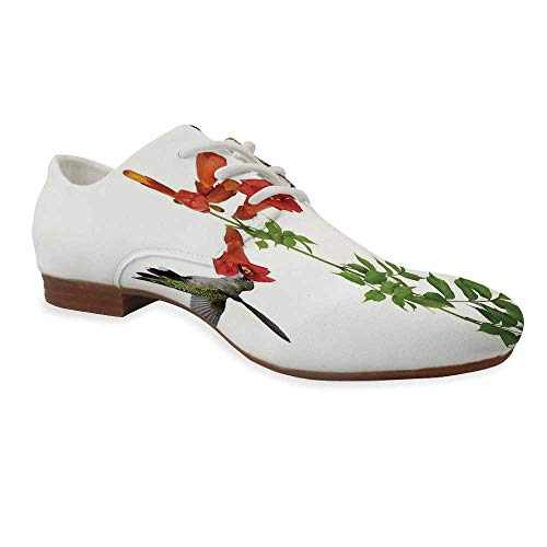 Hummingbirds Decor Durable Leather Shoes,Two Hummingbirds Sip Nectar from a Trumpet Vine Blossoms Summertime for Women,US 9