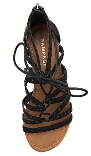 Rampage Womens Shelia Gladiator Braided Flat Lace Up Sandal With Tassel Black Microsuede ft6a2kvD