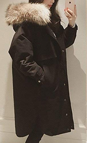 Schwarz Ropa Chaqueta Fashion Caliente Parkas Abrigos De Saoye Espesar Informales Capucha Con Mujer Manga Talla Grande Larga Largos Invierno Anchas Piel TR55dqw