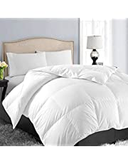 Queen/Full Soft Quilted Down Alternative Comforter All Season Hotel Collection Reversible Duvet Insert with Corner Ties, Warm Fluffy (White 88 by 88 Inches)