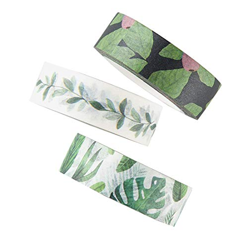 Washi Tape Set, Green Leaves Decorative DIY Adhesive Paper Masking Tapes, writable, Sticky, 3 Rolls