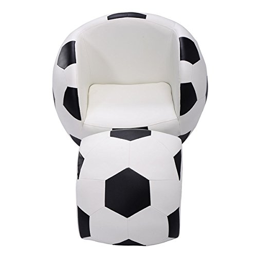 Costway Indoor/Outdoor Football Shape Kids Sofa Chair Couch Children Toddler Birthday Gift with Matching Ottoman