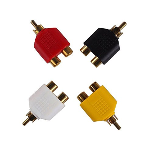 FolioGadgets RCA Y-Splitters (1 Male Jack to 2 Female Plugs) Connector AV Audio/Video Adapter - 4-Pack