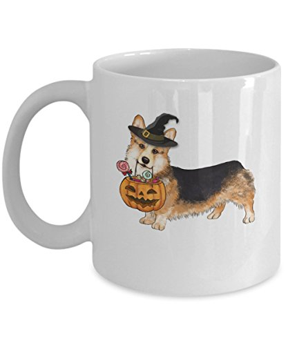 Kiwi Styles Corgi Coffee Mug - Halloween Pumpkin Witch Ceramic Mugs Cup - Happy Halloween Corgi | Best Halloween, Birthday Gift For Dog Lover, Dog Aunt, Grandpa, Dog Grandma - 11 Oz, White -
