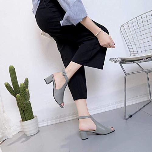 Dames Chaussures Boucle Mode Unité Pointu Pointus Gris Été Womens Hauts Sandales Boutons Pan Compensées Pu Cheville Centrale Sandales Clearance À Talons Extérieur Parti Bout rt1qtxA