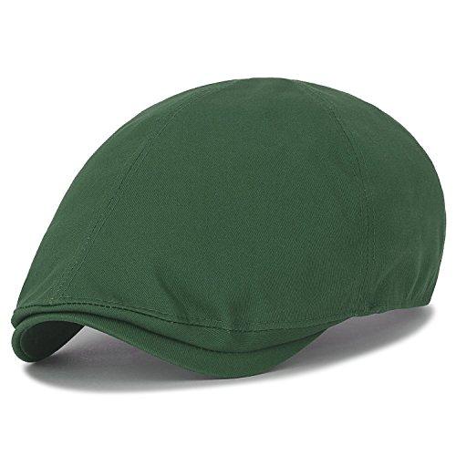 7f0f71f6b0244 ... Green ililily Cotton Solid Color Adjustable Gatsby Newsboy Hat Cabbie  Hunting Flat Cap, Green