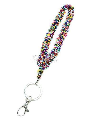 Crystal mini beaded Wristlet Key Chain for Key fob, Key, ID Badge Holder , USB, Purse (Rainbow)