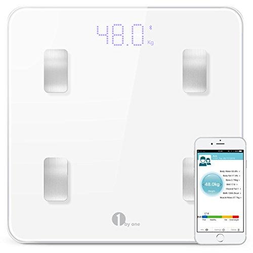 1byone Smarte Digitale Körperfettwaage, Inklusive Vermessung von Körpergewicht, Körperfett, Körperwasser und Muskemaße