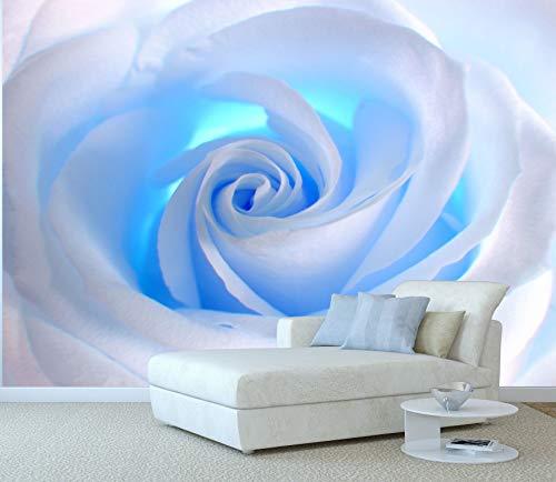 "Startonight Mural Wall Art Decor White Rose Blue Light Flowers Large 100"" by 144"" Wall Mural for Living Room or Bedroom"