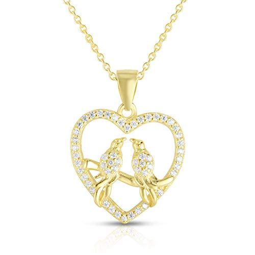 Unique Royal Jewelry A 925 Sterling Silver Cubic Zirconia Love Birds Heart Pendant and 18