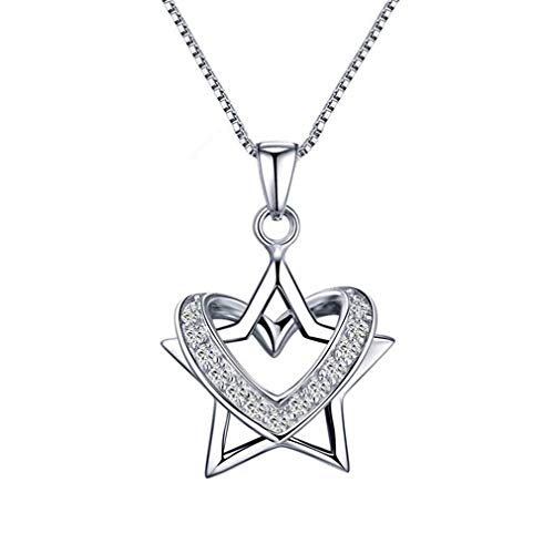 New Fashion Love Heart And Star Dual Use Pendant Necklaces 925 Sterling Silver Rhinestone Drop Necklace For Women Jewelry Gift Platinum Plated Length -