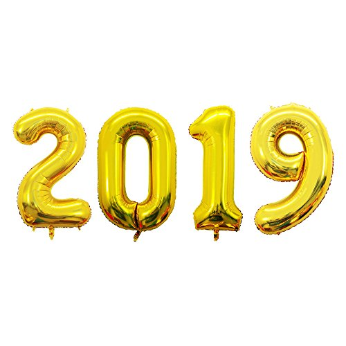(GOER 42 Inch Gold 2019 Number Foil Balloons,2019 Graduation Decorations New Year Eve Festival Party)