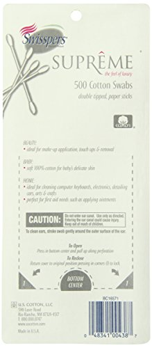 Swisspers Cotton Swabs, 100% Cotton Double-Tipped, White Paper Sticks, 500 per Pack, Case of 24 Packs (12,000 Total) by Swisspers (Image #1)