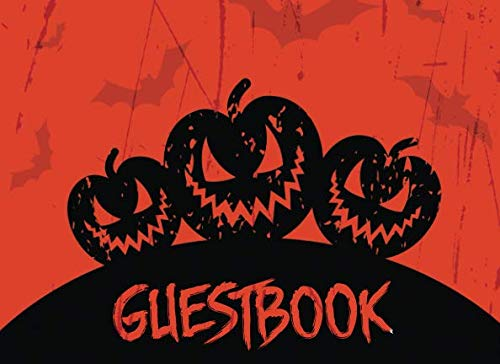 Guest Book: Halloween Party Guest Sign In With Lines For Names Messages & Well Wishes - Jack-O-Lantern (Kid-Friendly Halloween Guestbooks) ()