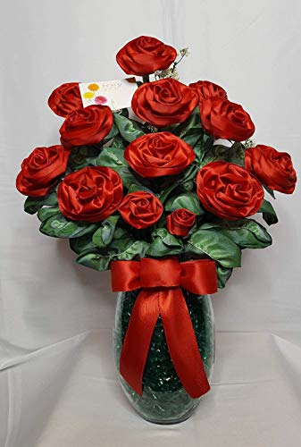 Handmade Red Satin Ribbon Rose Bouquet of 16 Long Stemmed Roses in a Glass ()