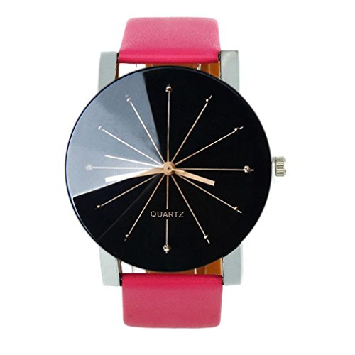 Luweki Men Quartz Dial Clock Leather Wrist Watch Round Case Hot pink Lg Wood Clock