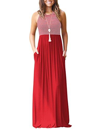 sin Largo Vestido con Mangas Bolsillos Rojeam Rojo Mujer Casual para 5pvEqcgW
