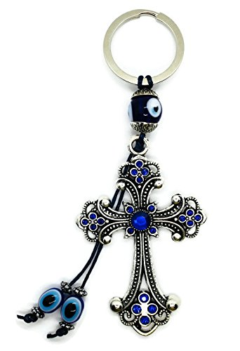 BT Cross and Evil Eye Good Lucky KeyChain Ring, Handbag Charm with Rhinestone Crystals for Good Luck and Blessing, Great Gift -