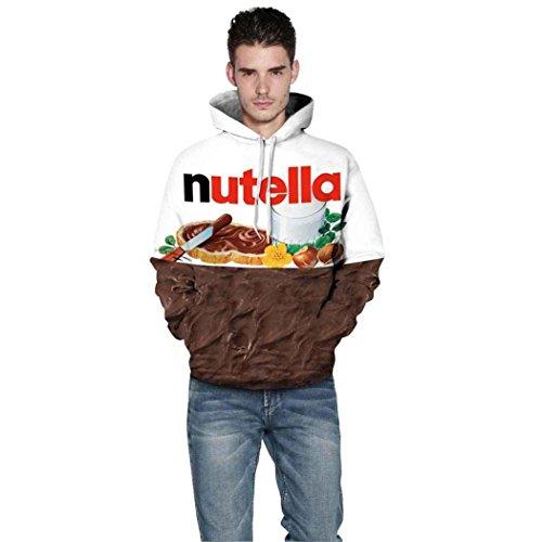 Dishayun 3D Digital Printed Hooded Hoodie Sweatshirts Plus Size (Nutella, XXL/XXXL)