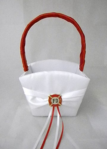 Wedding Party Ceremony Fireman Firefighter Flower Girl Basket by Designed by Regina