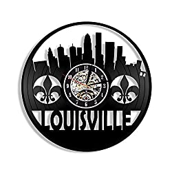 Levescale - Louisville Vinyl Wall Clock - Exclusive City Design - Perfect Skyline Goft for Him Or Her - Decoration for Office, Living Room, Kitchen - Kentucky Downtown Waterfront