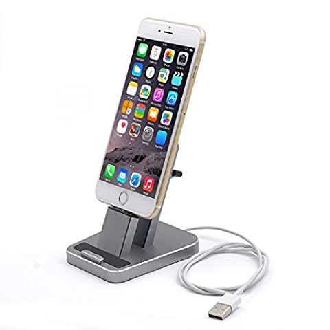 iPhone Dock,Aluminum iPhone Desk Charger Stand Dock Station Holder for iPhone 7/7Plus/6S/ 6/6 Plus/SE/5S and Samsung S7/S7 (Dock Plus For Iphone 6)