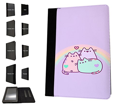 002392 - Cute Cat Kitten Rainbow Design Amazon Kindle Fire HD 7'' 4th Generation 2014 Flip Case Purse Stand Cover