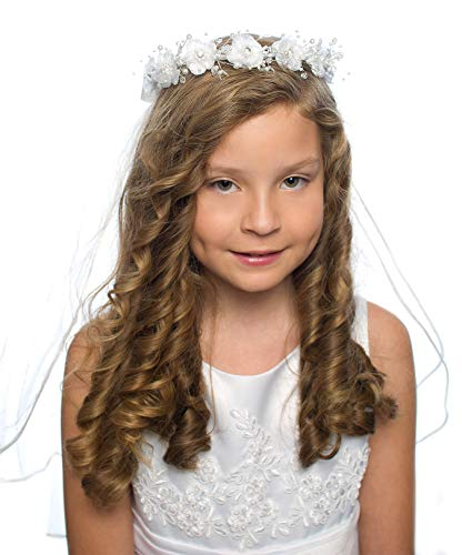 Holy Communion Tiaras (OLIVIA KOO Girls First Communion White Floral Wreath)
