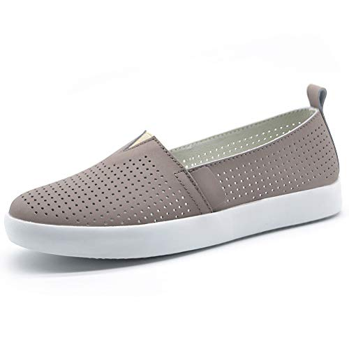 HKR Slip On Shoes for Women Breathable Summer Leather Loafers Non Slip Tennis Sneakers 8 US Taupe(FY83287qianzong38)