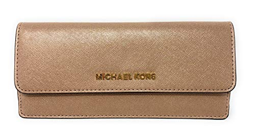 Travel Saffiano Leather Slim Flat Wallet in Rose Gold/Ballet ()