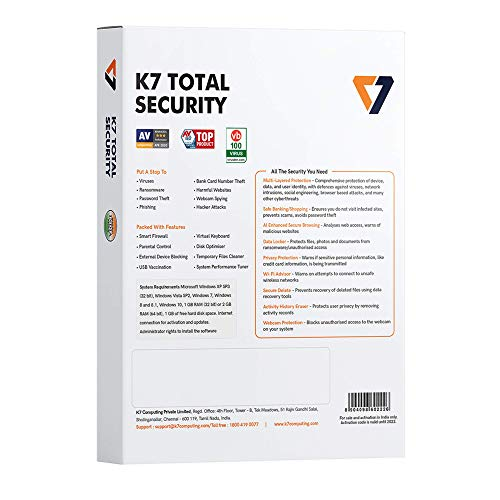 K7 Total Security - 1 PC, 1 Year (CD or Voucher) 2