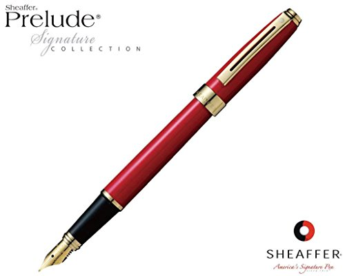 - Sheaffer Prelude Signature Red Laque G/T Fountain Pen 14K Medium