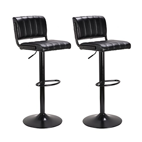 "LCH 24"" - 33"" PU Leather Adjustable Bar Stools, Stylish Counter Height Swivel Bar Stool Chairs with Backrest, Set of 2, Black by HLC"