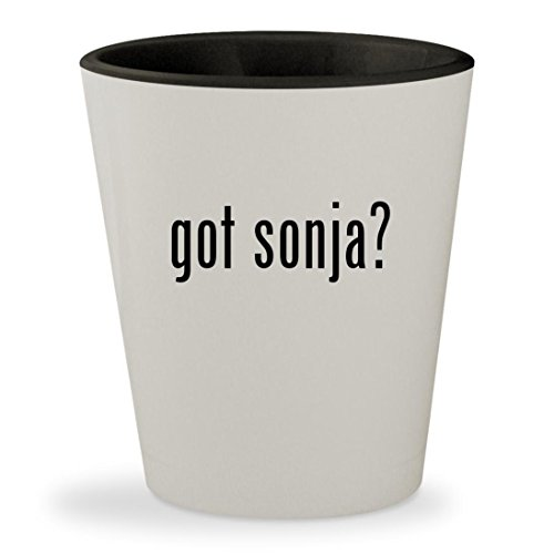 got sonja? - White Outer & Black Inner Ceramic 1.5oz Shot Glass (Red Sonja Costume)