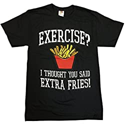 Humor Exercise? I Thought You Said Extra Fries! Graphic T-Shirt (XXX-Large, Black)