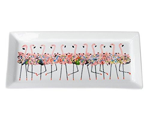 Square Tidbit Tray - Kim Rody Creations Flamingo Chorus Line Rectangular Ceramic Platter - 15x7