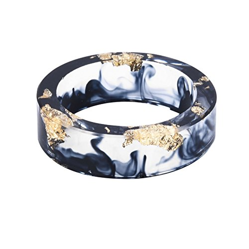 - New Arrival Handmade Black Color with Gold Paper Transparent Resin/Plastic Women/Men's Charm Ring,Come with Gift Box (18mm/US#8)