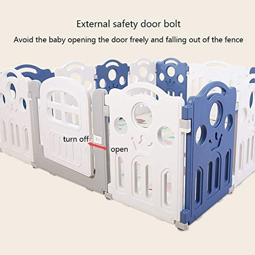 SISHUINIANHUA Baby Play Fence, Multi-Purpose Children's Activity Room Total 14 Panelportable Indoor and Outdoor Indoor Falling Portable Rack Blue and White 180 200Cm