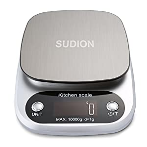 Sudion Digital Kitchen Scale, 10kg Food Scale Multifunction Weight Scale Electronic Baking & Cooking Scale with LCD Display and Tare Function, Silver