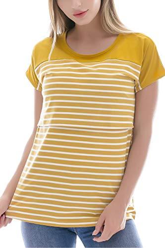 Smallshow Women's Maternity Nursing Tops Breastfeeding T-Shirt Medium Yellow (Best T Shirts For Large Breasts)
