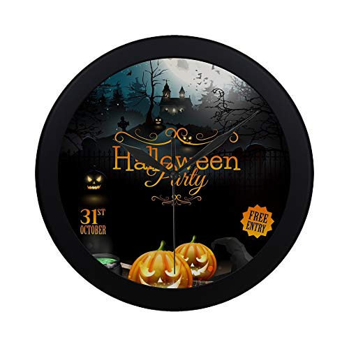 APJDFNKL Modern Simple Halloween Party Flyer Pumpkins Hat Pot Wall Clock Indoor Non-Ticking Silent Quartz Quiet Sweep Movement Wall Clcok for Office,Bathroom,livingroom Decorative 9.65 Inch]()